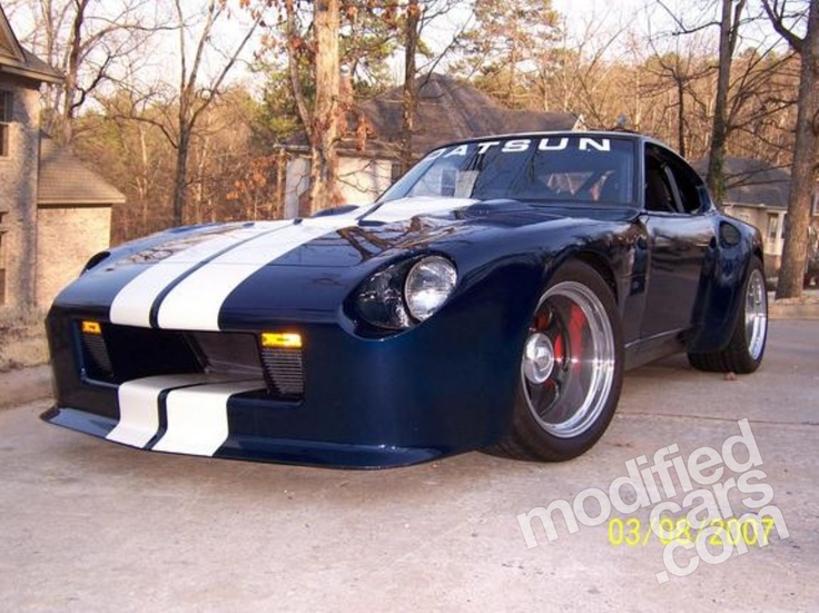 Modified Datsun 240Z 1971  - Shelby based Deep Blue with Racing stripes.