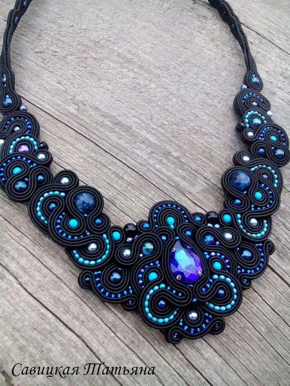 Black Blue Soutache Statement Necklace-Black by MagicalSoutache