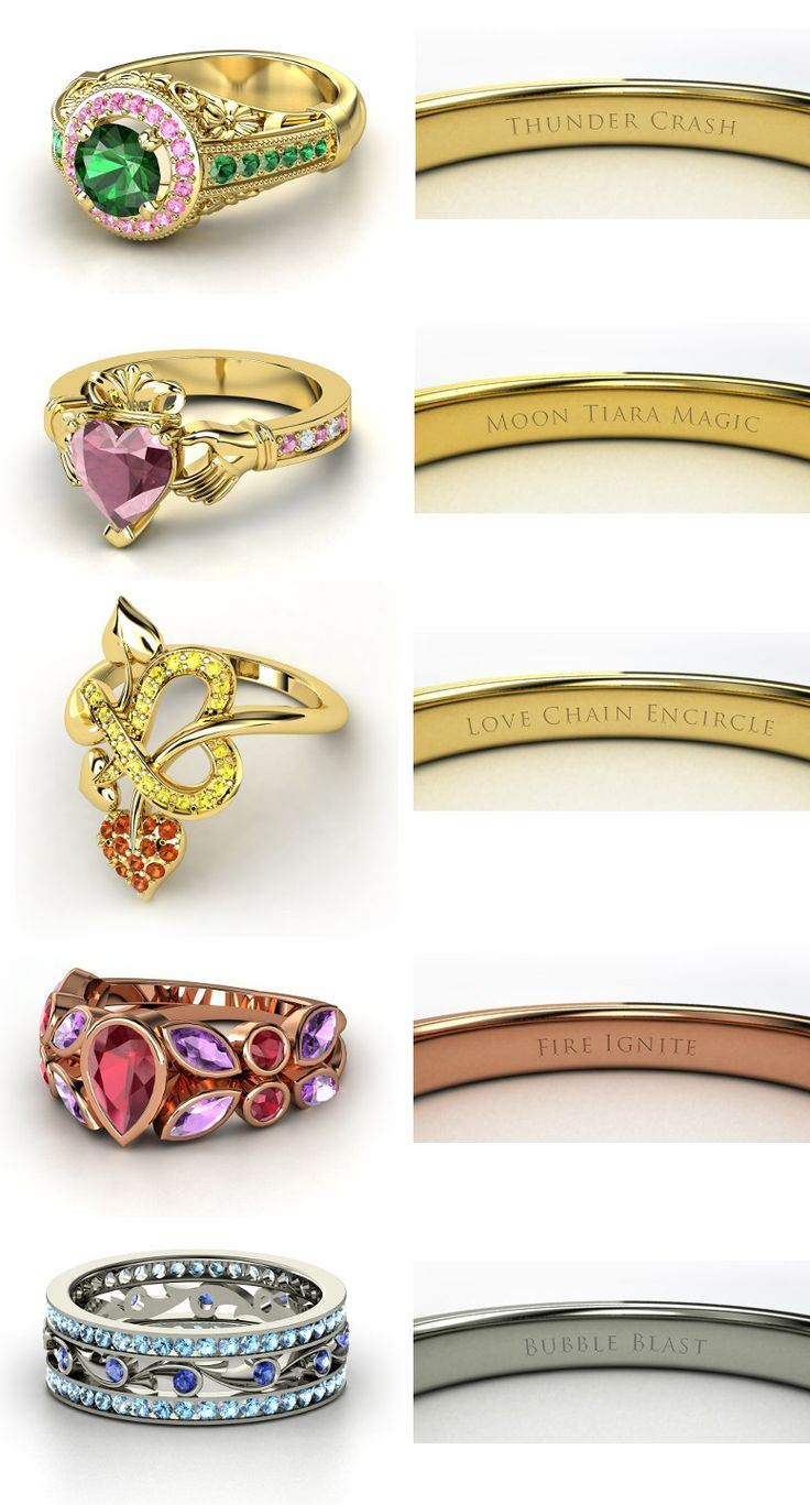 Sailor Moon engagement rings! Sailor JupiterSailor MoonSailor VenusSailor MarsSailor Mercury  (made on http://www.gemvara.com)