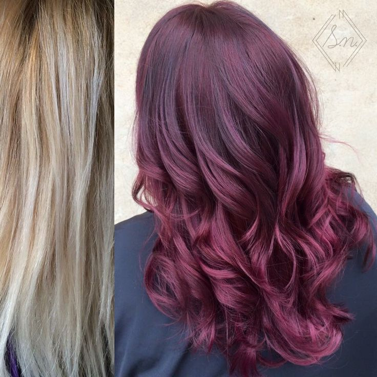 Blonde to burgundy hair color