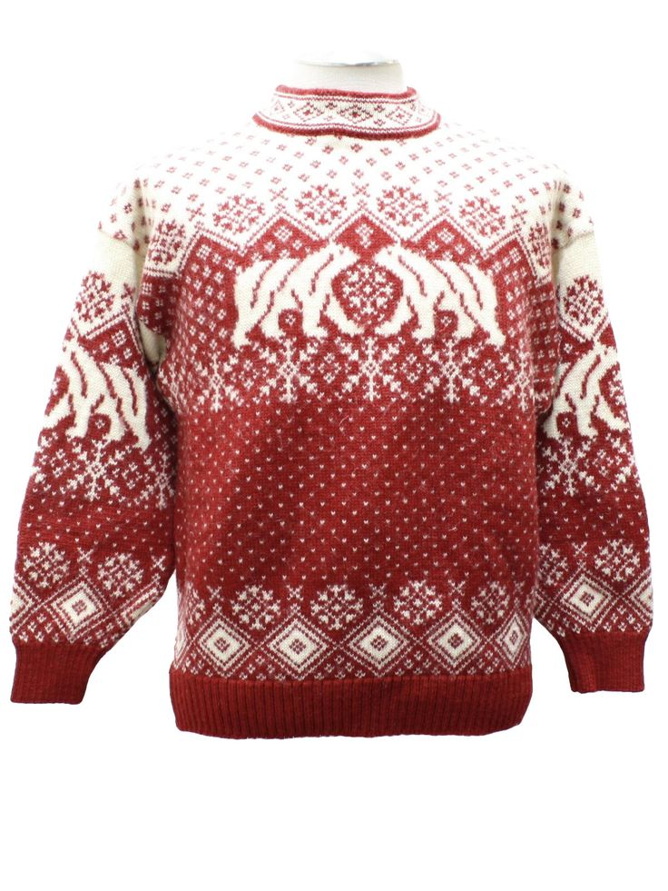 80s vintage -Skaeveland of Norway- Unisex red and white pullover style Norwegian wool ski sweater with really cool polar bear, snowflake, and dot pattern. Slightly raised neck, deep cut armholes, ribbed knit cuffs and waistband.