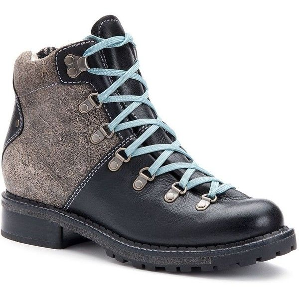 Woolrich Rockies Women's Mid Cut Lace-Up Hiking Boots ($205) ❤ liked on Polyvore featuring shoes, boots, black leather, black hiking boots, leather upper boots, distressed leather boots, lace-up platform boots and leather boots
