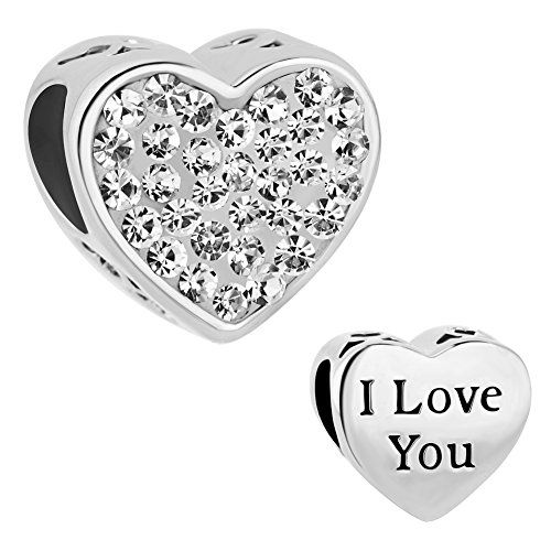 Valentine's Day I Love You Heart Charm April Clear Birthstone Crystal Charm Cheap Sale Fit Pandora Charms Bracelet Gifts Welcome to purchase in CharmsStory,there are many new fashion style charm/necklace/bracelet to be choosed,They are be best gift for yo
