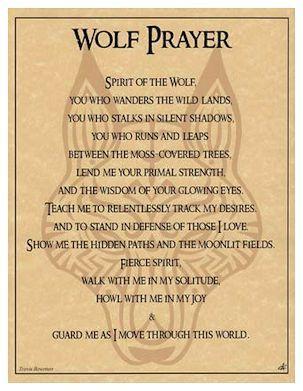 Pagan Parchment Poster - Wolf Prayer - Travis Bowman