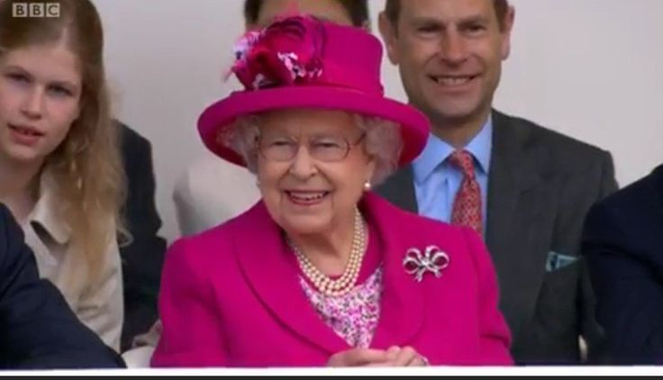 British Royals (@britishroyals) on Twitter:  Patron's Lunch in Honor of Queen Elizabeth's 90th Birthday, June 12, 2016-Queen Elizabeth, in a Karl Ludwig couture coat and Angela Kelly hat, with granddaughter Lady Louise and son the Earl of Wessex behind her