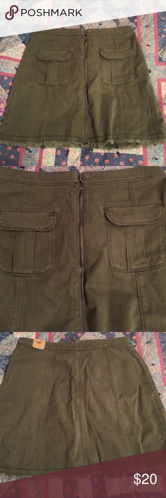 Hollister skirt Fits high rise, the zipper zips all the way down and bottom is intentionally frayed, army green Hollister Skirts