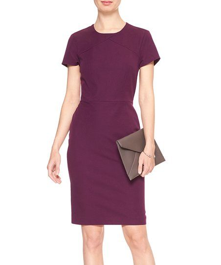 Banana Republic Factory Elderberry Stretch-Seam Sheath Dress | zulily - From workdays to nights out, this accessory-ready pick keeps you ready for anything with its stretch-friendly construction featuring a comfortable back slit.Even though we don't want to admit it, summer is coming to an end and we have to get ready to go back to work! And with #zulily you'll make your come back more stylish, fun and fabulous than ever! Click here to see my suggestions! #zulilyfinds #zulilystyle…