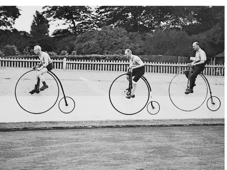 The annual penny farthing bicycle race. Herne Hill velodrome, South London 1937