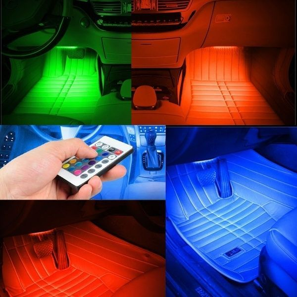4pcs Voiture DEL Intérieur Lumières RGB AMBIANCE DECOR Neon Lampe Musique Avec Télécommande