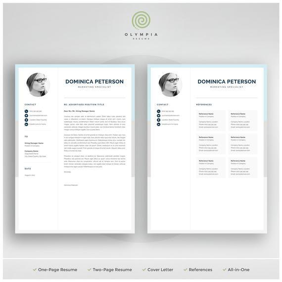 Modern Resume Template Creative Cv With Photo 1 2 Page Etsy Creative Resume Templates Modern Resume Template Resume Template