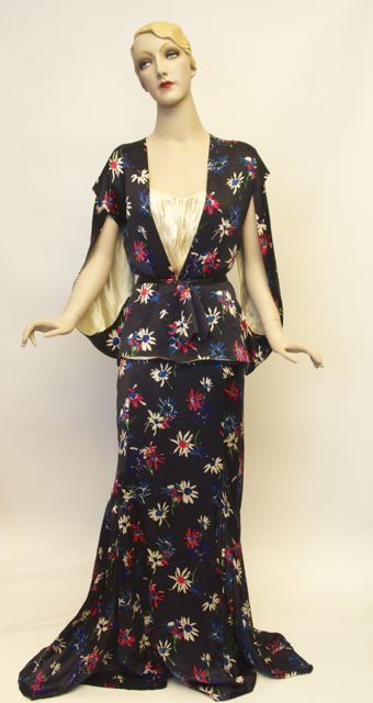 FC0433 Dress, floral print silk evening gown, attributed to Schiaparelli 1935