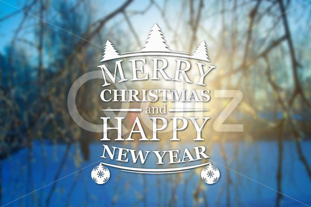 Qdiz Stock Photos Merry Christmas and New Year greeting card,  #background #blur #blurred #branches #card #celebration #Christmas #eve #greeting #happy #holiday #Merry #new #postcard #retro #season #Sun #Sunset #traditional #tree #vintage #winter #xmas #year