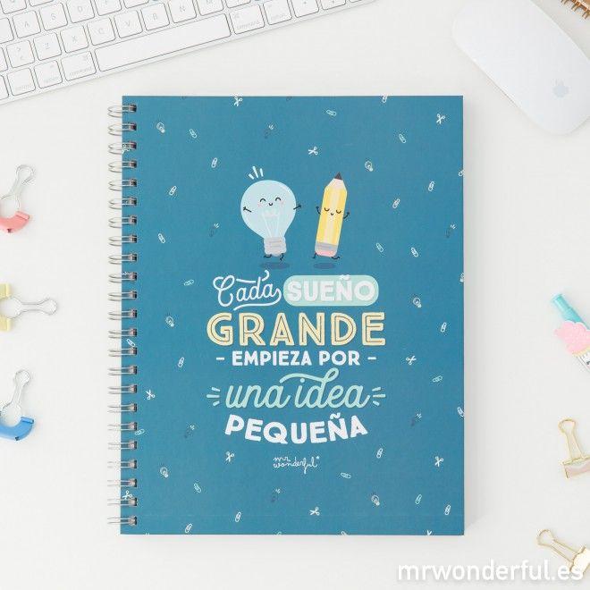 Libreta grande - Cada sueño grande empieza por una idea pequeña #mrwonderfulshop #blue #ideas #dreams #notebook #school #backtoschool #papelería #stationery