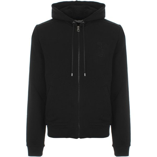 Versace Collection Half Medusa Embroidered Hoodie ($425) ❤ liked on Polyvore featuring men's fashion, men's clothing, men's hoodies, mens sweatshirts and hoodies, mens zip up hoodies, mens zipper hoodies and mens hoodies