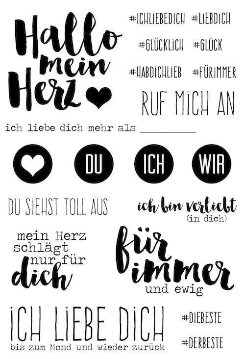 "Klartext Stempelset ""Hallo mein Herz"" zum Februarkit 2016 von www.danipeuss.de #danipeuss #klartext #dpfebruarkit16 #stempeln"