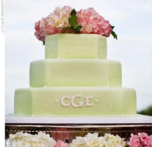 green monogram wedding cake