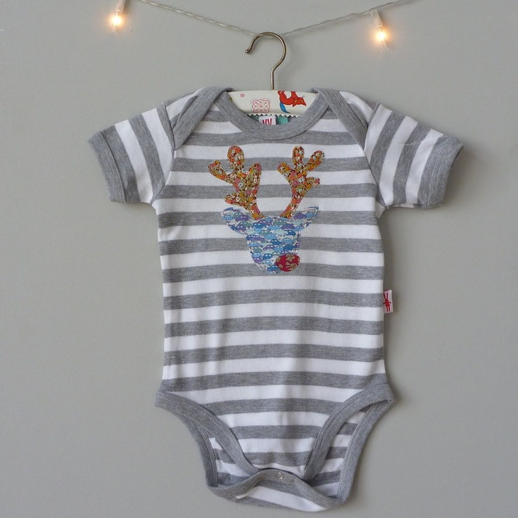 milk two bunnies — Boy Reindeer Bodysuit £20. Beautiful Liberty print applique Reindeer Bodysuit