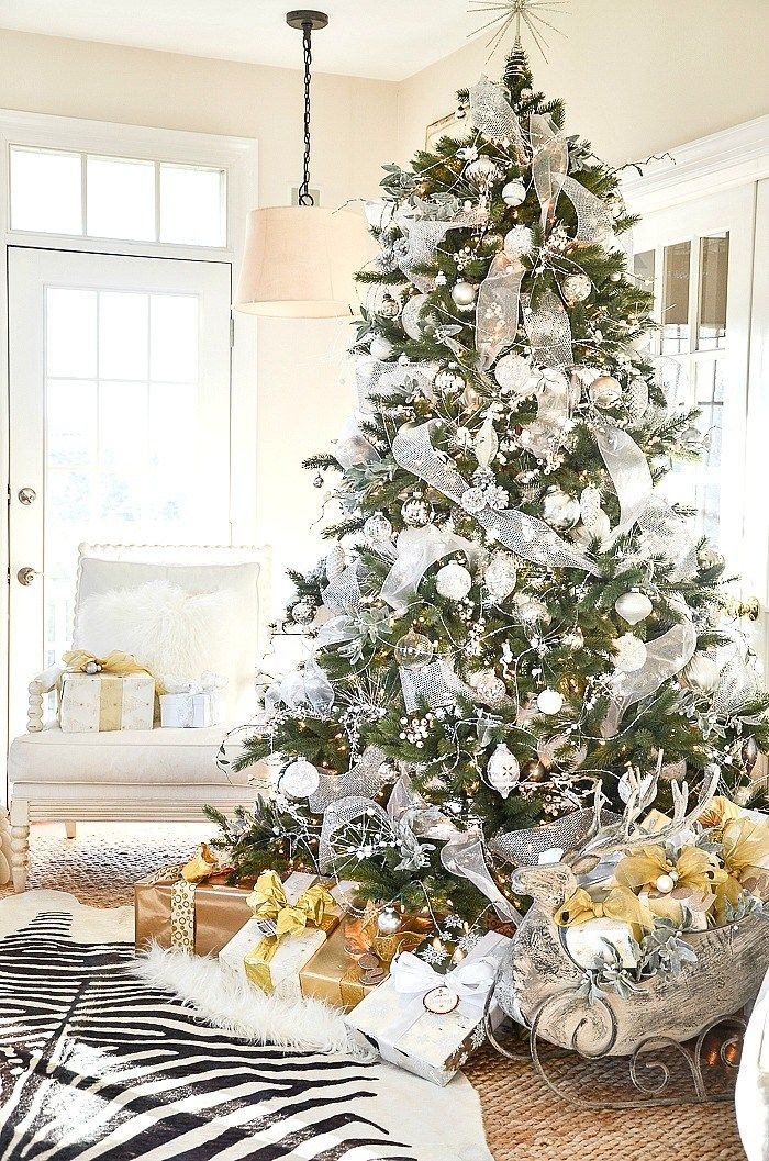 Silver And Gold Christmas Home Tour Part 1 Luxury Christmas Decor Christmas Home Gold Christmas