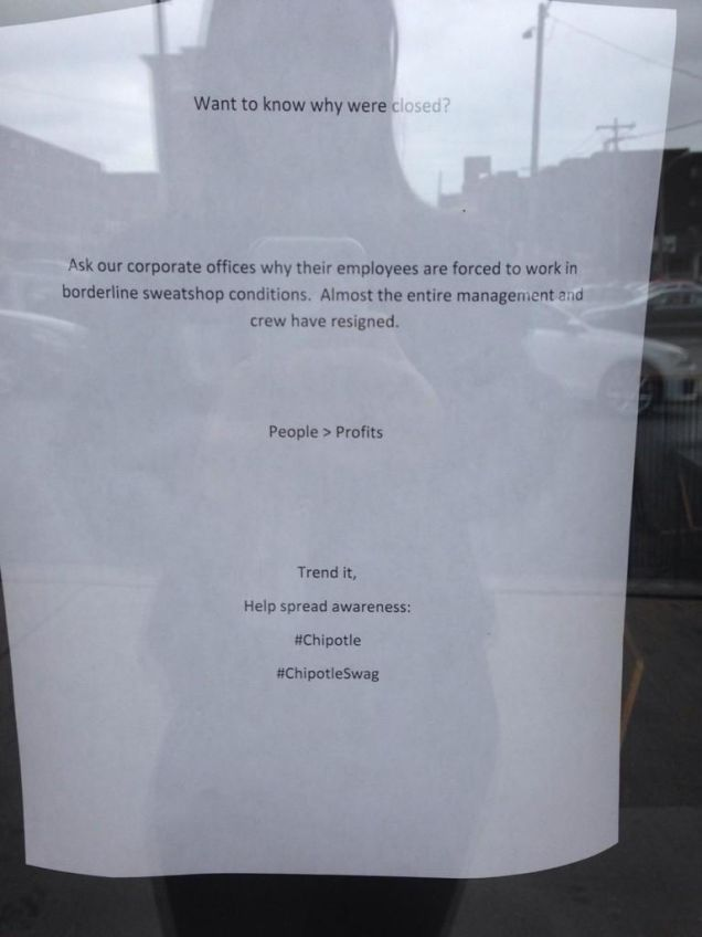 Chipotle Workers Quit Shut Down Store Because