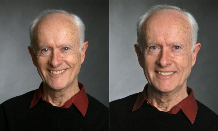 Photographs showing fake and genuine smile