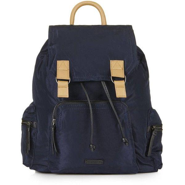 TopShop Nylon Sporty Backpack (3.115 RUB) ❤ liked on Polyvore featuring bags, backpacks, navy blue, rucksack bag, polka dot backpack, nylon bag, dot backpack and navy bag