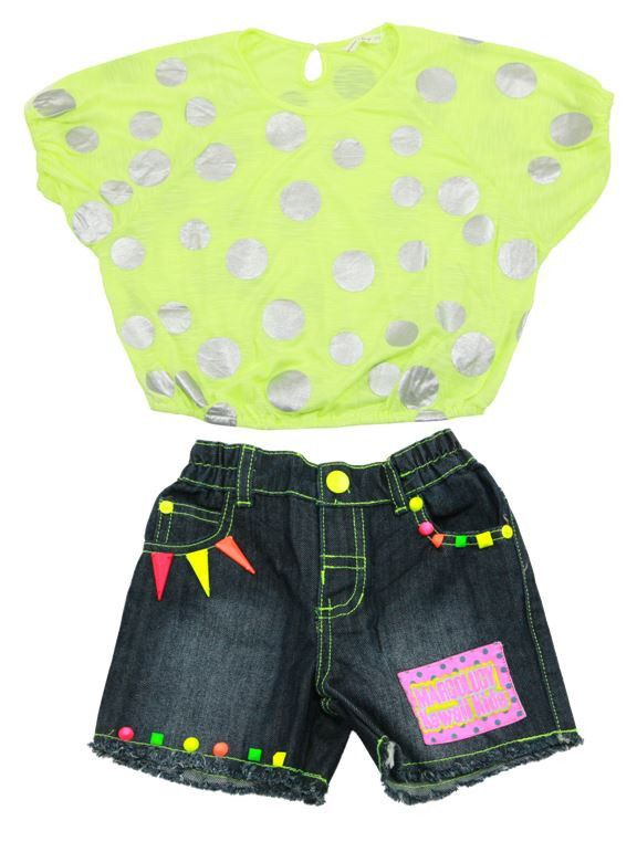 2 Piece Girls Silver Big Dotted Dolman circle with neon shapes Denim Shorts Set - $ 32.99