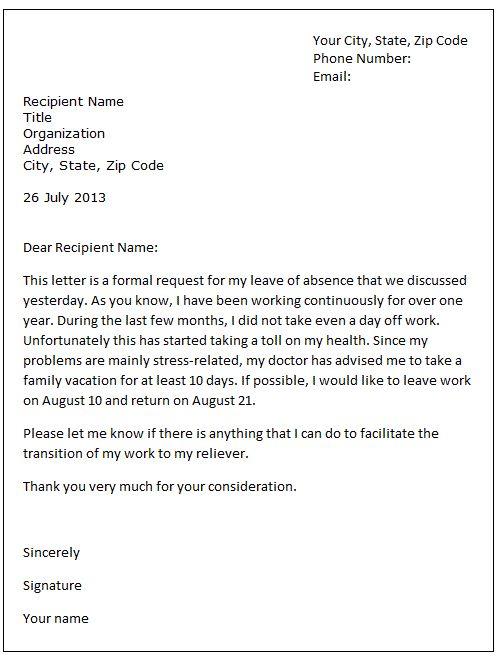 Leave of absence letter sample   Formal letter samples - leave of absence letter