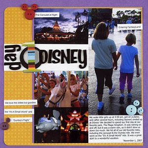 Make a Travel Scrapbook Plan  Design by Tracy Miller  Tracy jotted down notes as she took photos of her family at Disney World. She collected small mementos to include on each vacation page. The only embellishments added were from her scrap pile.  Editor's Tip: Pack a small three-ring binder with page protectors to file and store flat mementos by day. Take a journal so you can faithfully record the day's events each night.Scrapbook Ideas, Scrapbook Layouts, Scrapbook Inspiration, Scrapbook Disney, Scrapbook Plans, Travel Scrapbook, Disney Layout, Disney Scrapbook, Scrapbook Pages