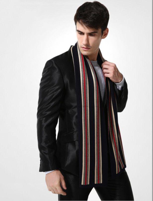 Elegantný pánsky šál z vlny a bavlny - Vzor 10