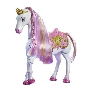 Hail to the Princess Aurora! Take this princess home! Perfect for doll and Disney fans alike!This regal Princess horse walks, neighs, and bows with the wave of the magical Princess wand! When girls tap the horse with the wand once, she walks forward and neighs!
