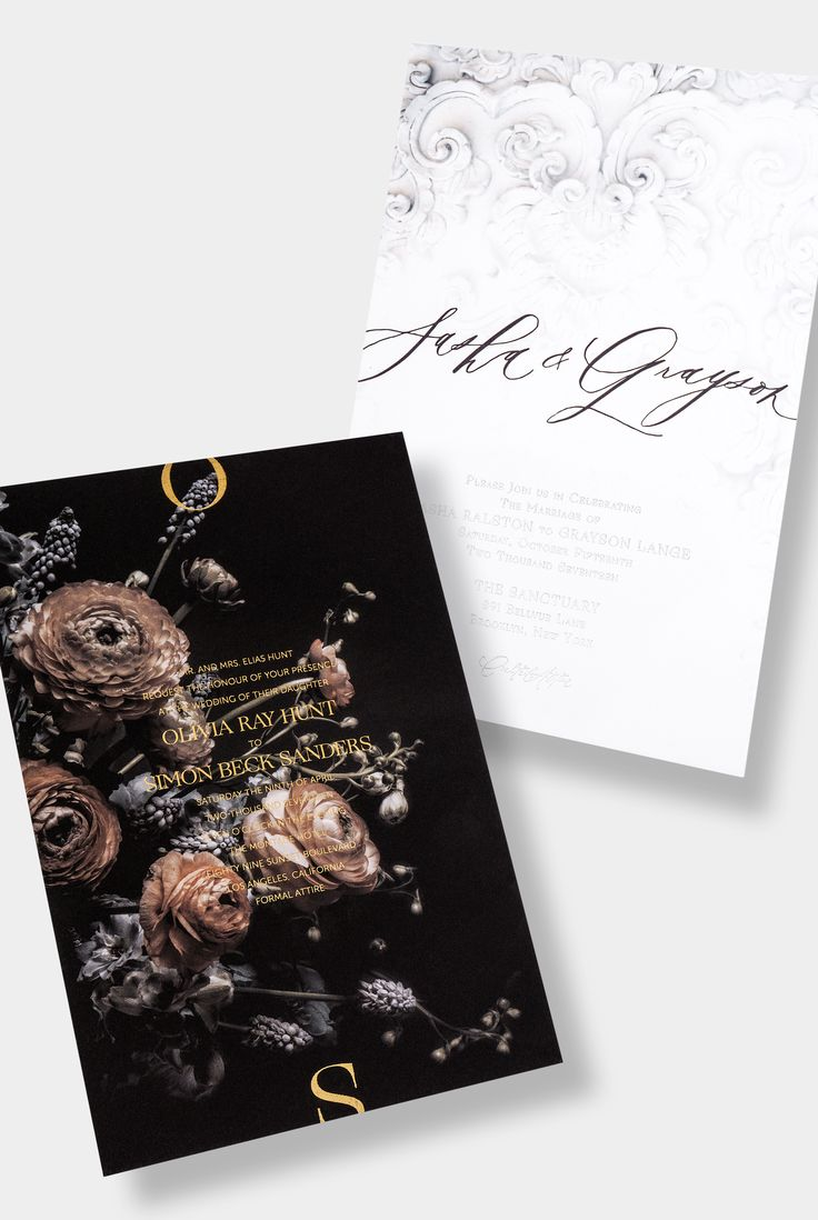 Dark Moody Floral Wedding Invitation / White Texture Wedding Invitation / Gold Foil / Black Letterpress / Silver Foil / Written Word Calligraphy / Black + White / Modern / Unique / Customizable / Design Your Own / #myownblissandbone