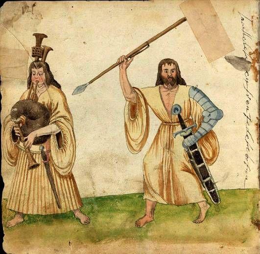 The dress of Irish and Scottish Gaels.   Both figures are wearing a Léine, the long shirt like tunic that was the common element in Gaelic clothing  Códice De Trajes, Biblioteca Nacional de España c.1529