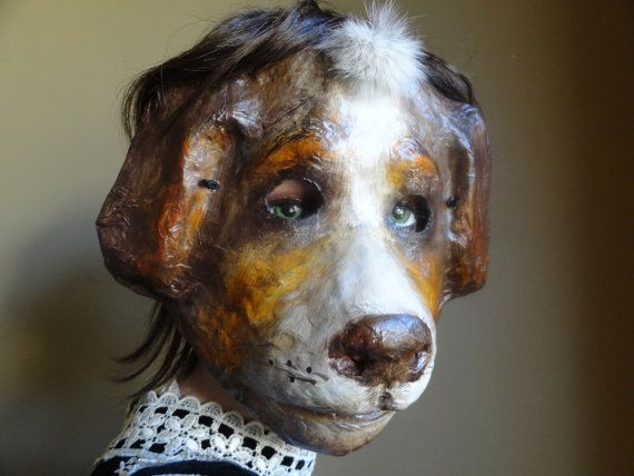 3D Mask Paper mache papier mache dog mask animal mask