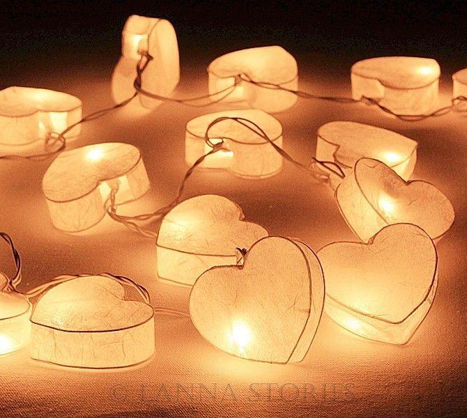 SLH185 20 White Heart Paper Lantern Patio Party String Lights – Fairy, Wedding #LANNASTORIES