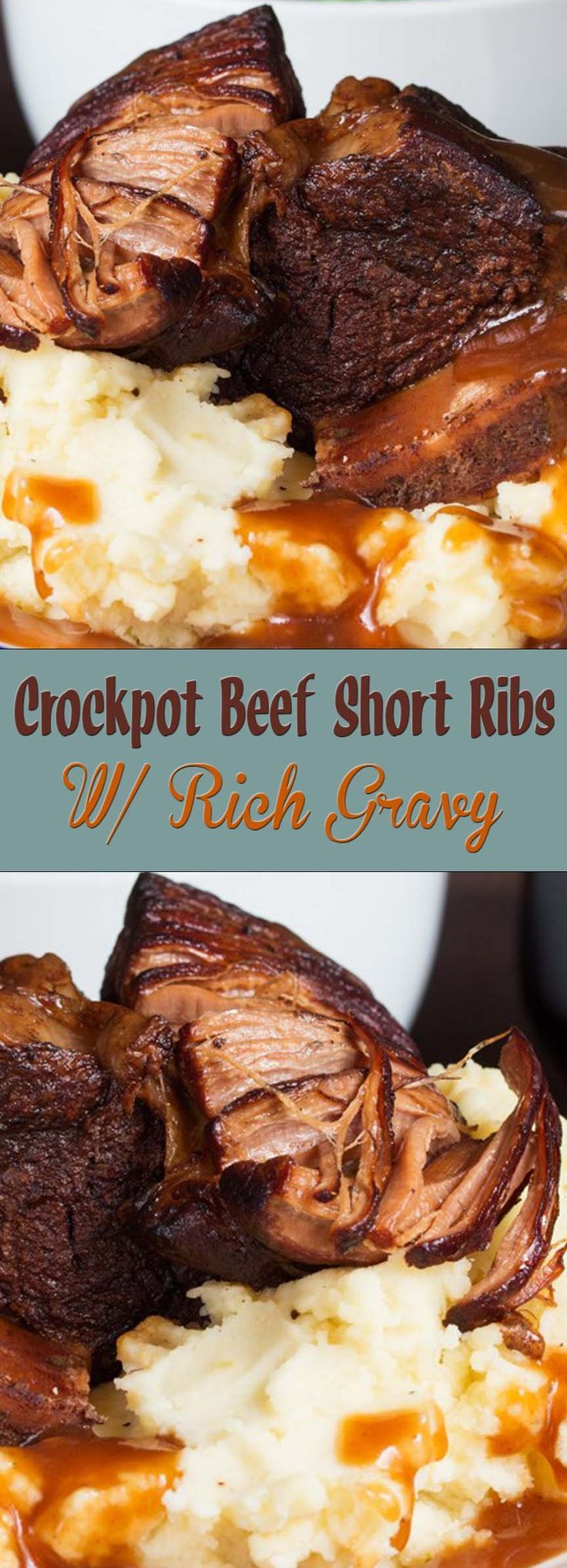 Crockpot Beef Short Ribs w/GravyShort Ribs:1 tbsp oil4 meaty short ribs1 onion, peeled and chopped3 cloves garlic, peeled and minced1 cup (240ml) red wine2 and ⅔rds of a cup (640ml) beef stock (water + 3 beef stock cubes is fine – or use vegetable bouillon for gluten-free)1 tsp dried thyme1 tbsp tomato puree 1 tsp sugar2 bay leaves¼ tsp salt¼ tsp pepper1 tbsp Worcestershire sauceFor the gravy:2 tbsp cornstarch/cornflour5 tbsp cold water