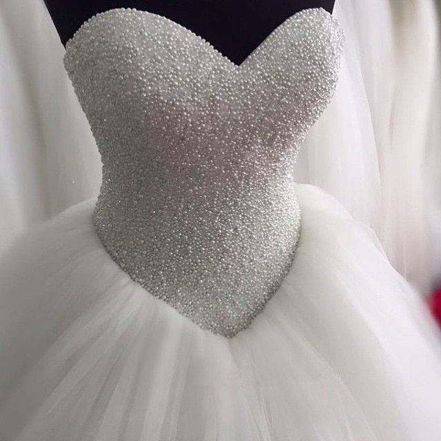 Crystal Beaded Sweetheart Bodice Corset Ball Gowns Wedding Dress 2016 Bling Bling Style