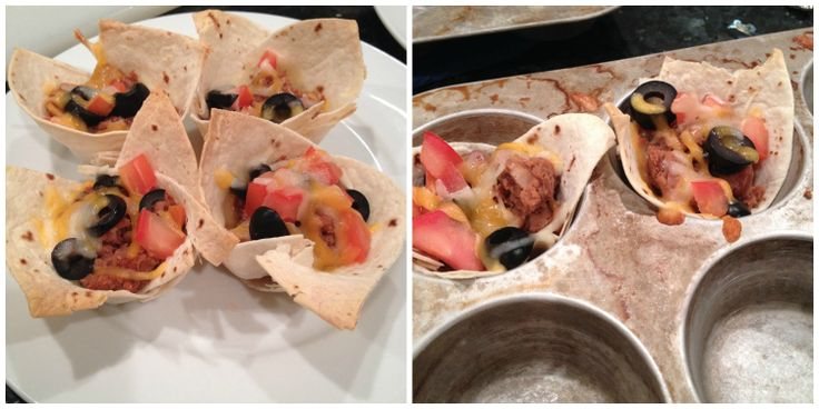 Taco Cups! Tortilla, beans, cheese, olives, tomatoes, just about anything you want on them! Bake in the oven at 350 for about 15 minutes.