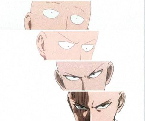 The transition from soft to hard boiled egg. -One Punch Man