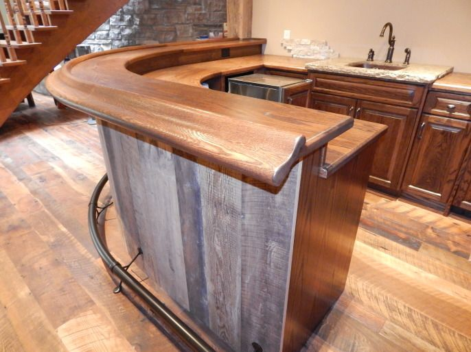 Oak Curved Home Bar