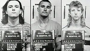 The West Memphis Three: three men convicted as teenagers in 1994 of the 1993 murders of 3 boys in West Memphis, Arkansas. Damien Echols (was sentenced to death), Jessie Misskelley, Jr., and Jason Baldwin
