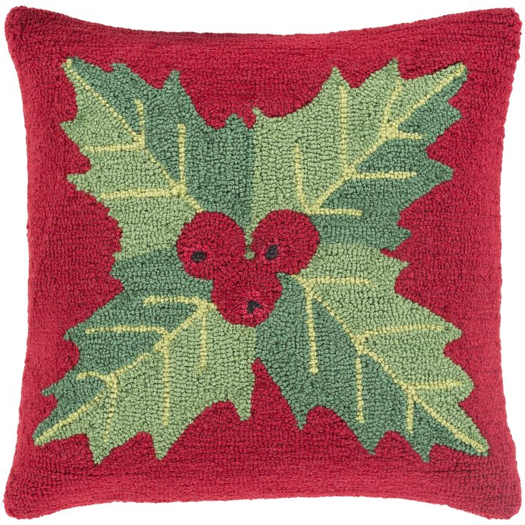 Surya Thatcham 18 in. Down or Polly Filled Winter Plant Holiday Throw Pillow