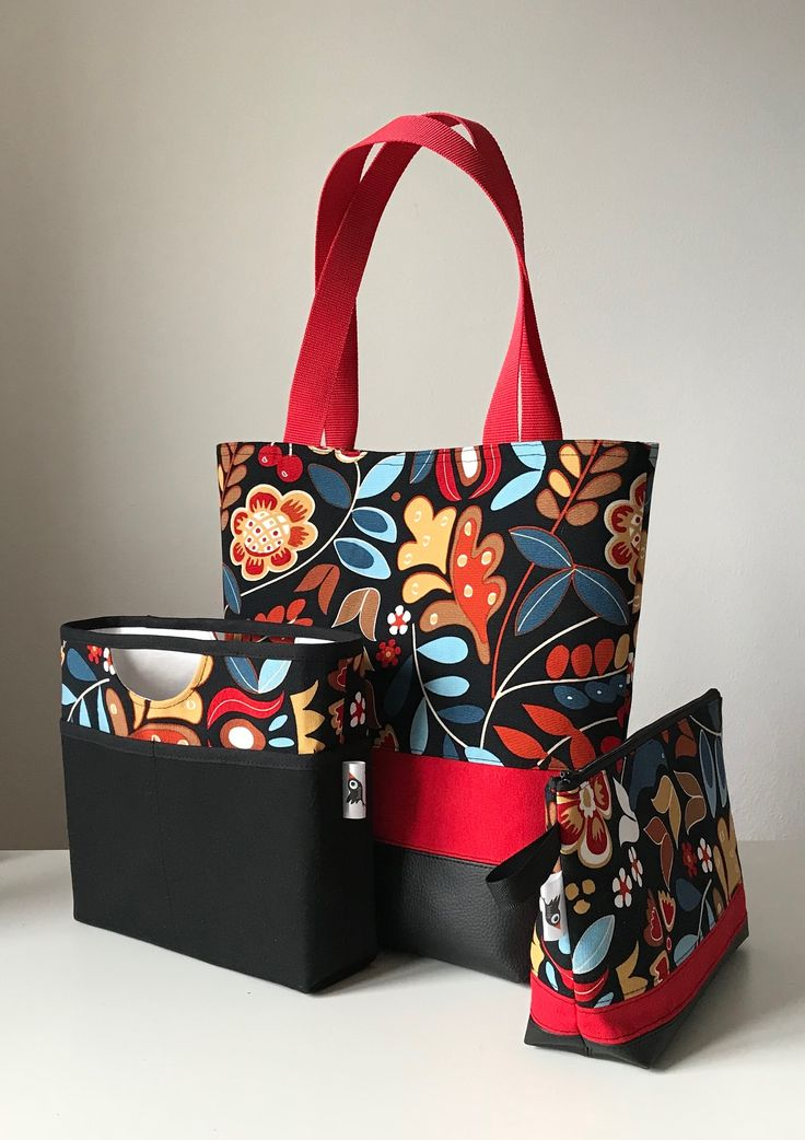 Shoulderbag, IKEA, black and red, flowers
