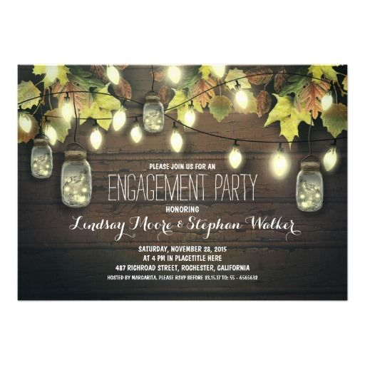 string lights mason jars fall engagement party custom invite