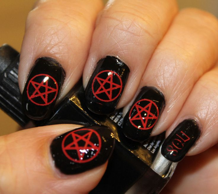 66 RED PENTACLE SYMBOLS Nail Art Opaque by NorthofSalem on Etsy - The 25+ Best Emo Nail Art Ideas On Pinterest Easy Nail Designs