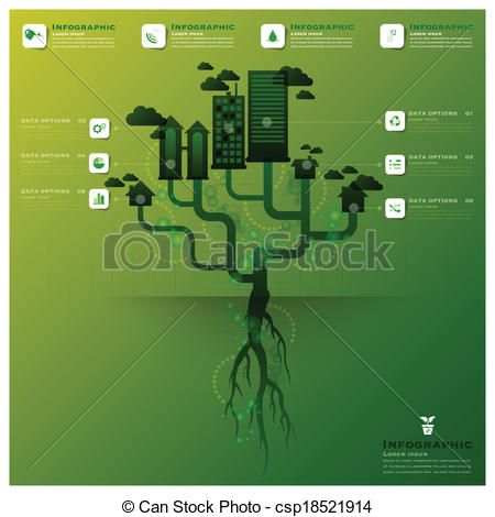 Pollution Tree And Root Infographic Design Template - csp18521914