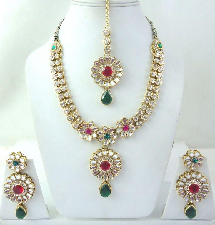 Hot Pink Green Kundan Cz Gold Tone Bollywood Bridal Necklace Jewelry Set 4 Pcs