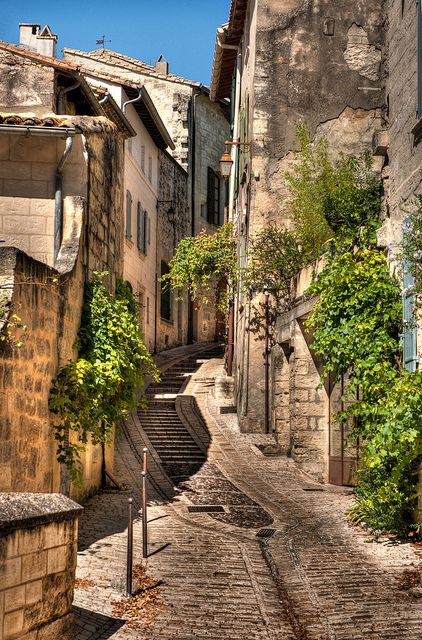 The steep medieval streets of Provence, France