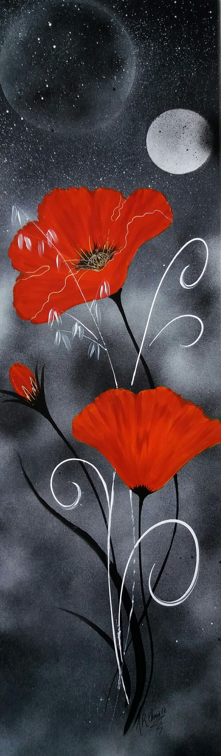 Tableau coquelicots. peinture acrylique, technique mixte pinceaux et bombe sur toile 100x30. Peint par RAFFIN CHRISTINE. 2017