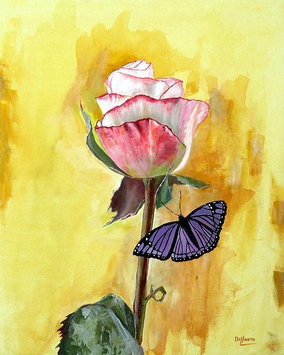 Friendship   Artist  Michael Dillon   Medium  Painting - Acrylic   Description  butterfly and rose on yellow background  #michaeldillon #paintingsforsale