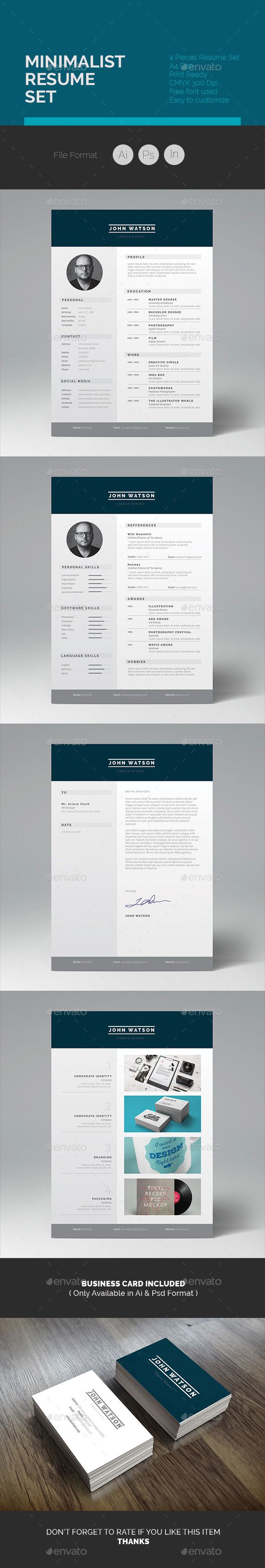Minimalist Resume Set Template 237 best CV